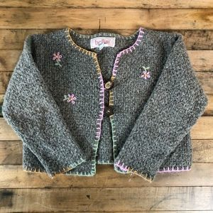 Bellini Girls Knit Floral Sweater- Made in Italy